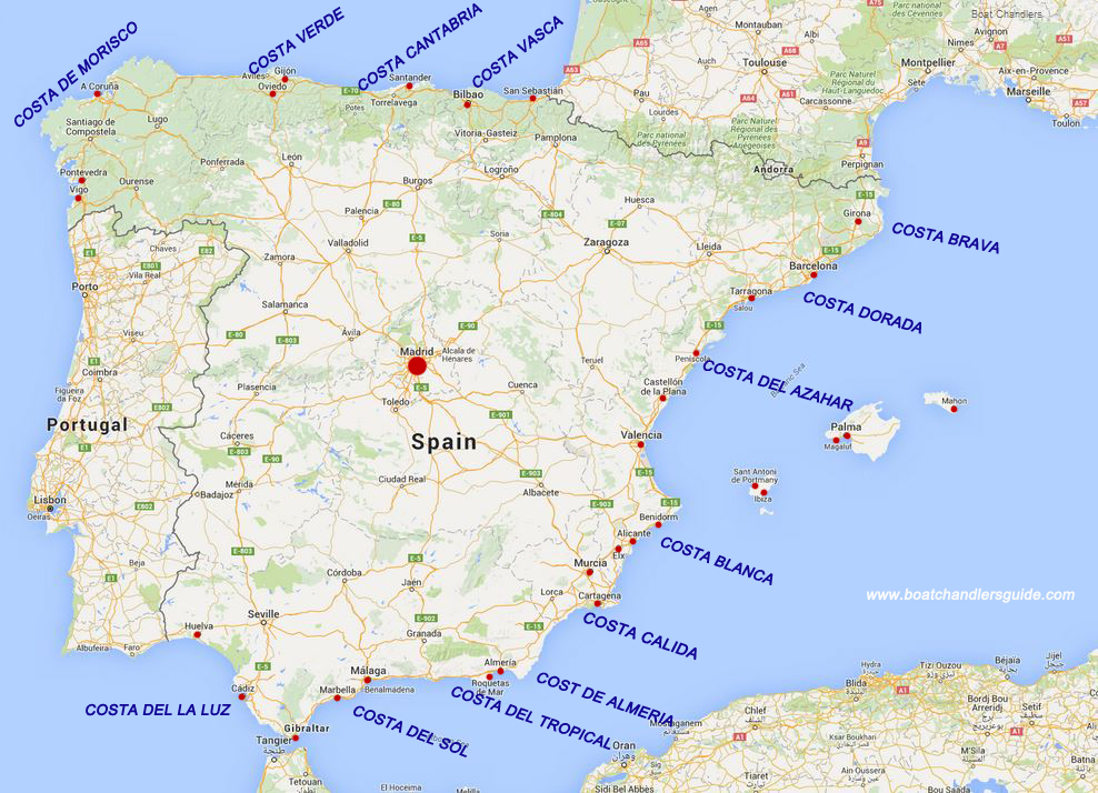 Map Of Spain Showing Costas.Sailing Around Spain